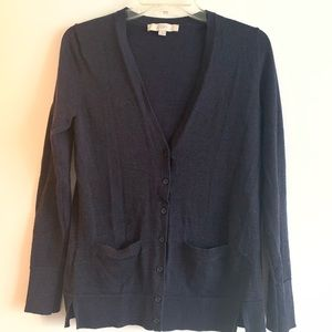 LOFT Shimmer Navy Sweater. Size 6.
